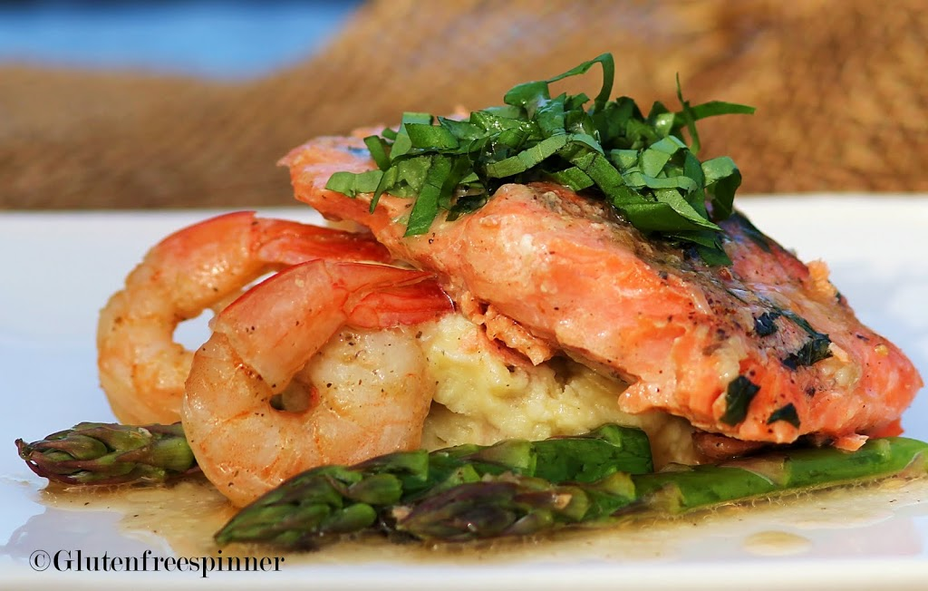 Salmon and Shrimp in Basil Butter Wine Sauce