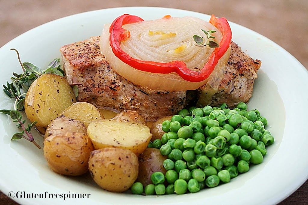 Baked Pork Chops and Thyme Roasted Potatoes