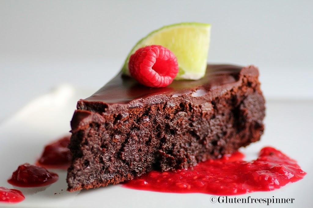 Flourless Chocolate Cake with Raspberry Lime Salsa