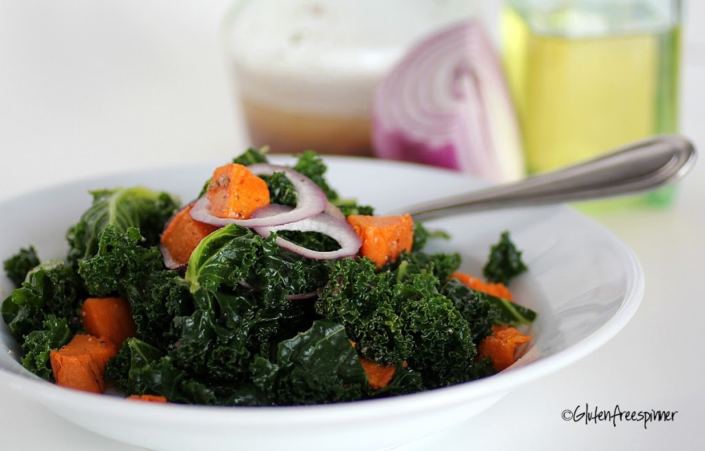Blanched Kale with Sweet Potatoes and Vinaigrette Dressing