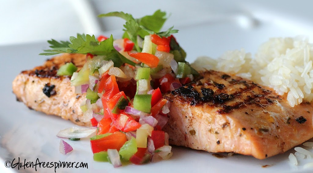 Blackened Salmon with Pineapple Pepper Salsa