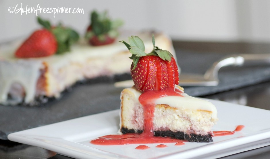 Strawberry Marble Cheesecake with White Chocolate Ganache