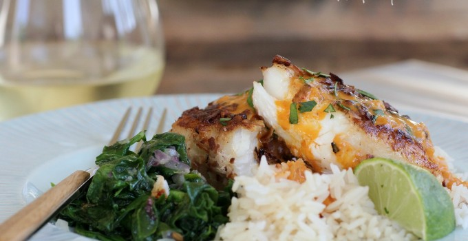 Coconut Pecan Crusted Halibut with Coconut Curry Sauce