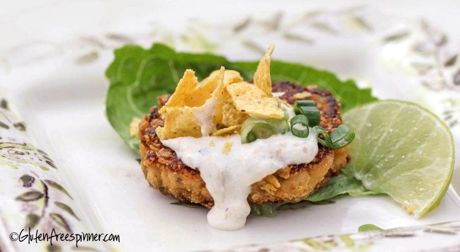 Chicken Cakes with Salsa Verde Cheese Sauce